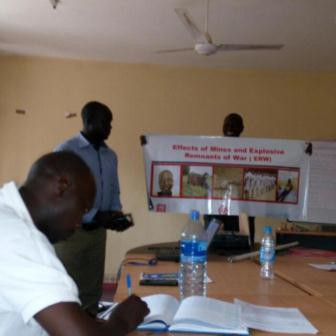 Facilitators conducting the training at the National Mines Action Authority premises in Juba. 21-feb-2017